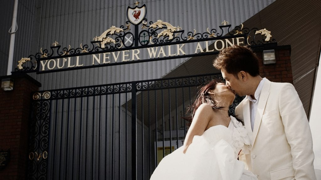 Gerrard & Angela's Liverpool Pre-Wedding Photography at Liverpool FC Anfield Statium by thegaleria